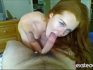 Best blowjob ever, young redhead girl sucking a lot