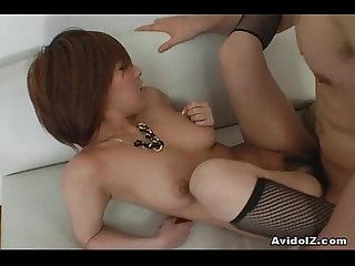 Big tit babe arisa minami gets tits covered in cum