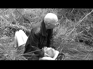 Grandpa Ulf Larsen and the whore Angel fuck outdoor