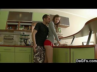 Tall and thin russian girl sodomized in the kitchen