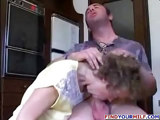 Hot and ugly mom and her son kitchen fuck