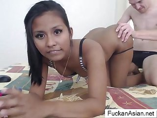 Sexy Asian Teen Sucks & fucks on cam