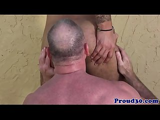 Mature daddy bear bangs his tattooed gardener