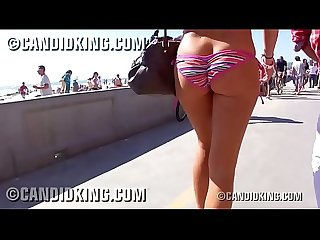 Bubble butt teen walking showing her booty in tiny bikini!