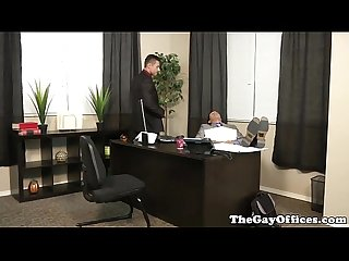 Muscular office hunk drilling his boss