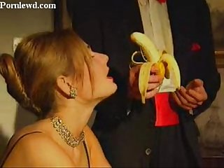 Rich blonde lady learning to blowjob