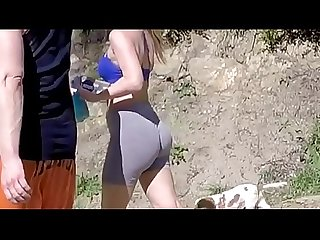 Candid hiker white fat ass leggings