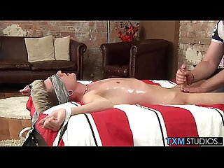 Slippery with oil and leaking precum his cock is soon aching