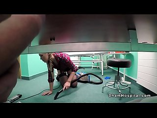 Doctor fucking cleaning lady in office