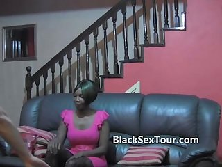 Black african woman sucks white cock
