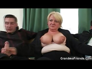 Threesome orgy with granny