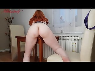 REDHEAD WITH A NICE ASS RUBS AGAINST TABLE TO AN AMAZING WET ORGASM!!