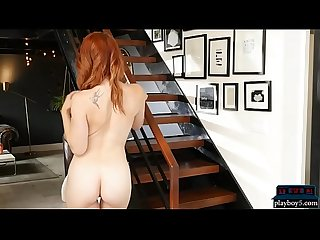American redhead MILF with juicy boobs strips naked