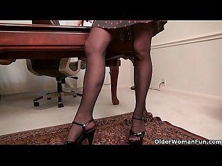 Office milfs Eva and Shelby give their pussy a treat