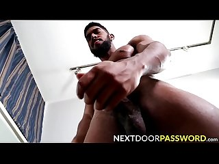 Bearded black hottie masturbates and fucks a pocket pussy