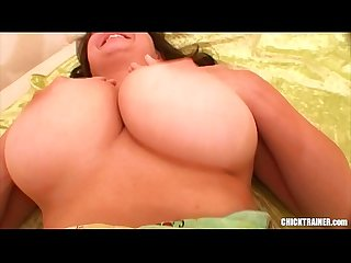 Struggling to get those Balls on her Lips. Big Tits Deepthroating, Fucking in High..