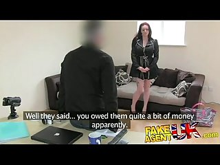 Fake agent fucks a busty girl and comes in her face